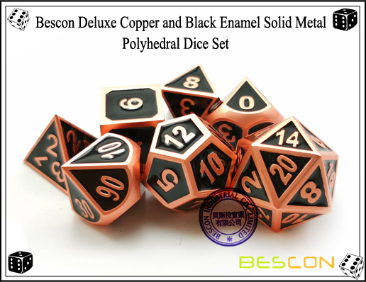 Bescon Deluxe Copper and Black Enamel Solid Metal Polyhedral Role Playing RPG Game Dice Set (7 Die in Pack)-6