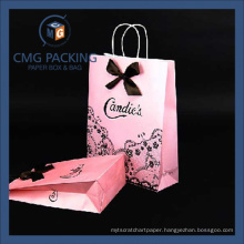 Pink Color Black Hot Stamping Paper Shopping Bag (CMG-PGBB-012)