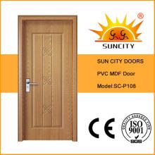 Diseño barato de la puerta del cuarto de baño del PVC del precio (SC-P108)