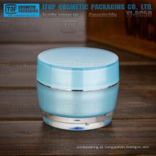 YJ-BC50 50g elegante e bela parede dupla azul frasco de plástico para cosméticos