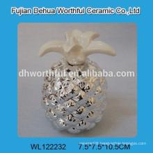 Lovely ceramic electroplate pineapple salt & pepper shakers