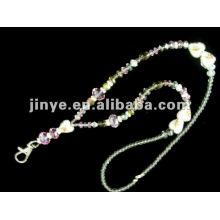 Fashion cute crystal beaded jewelry keychain glitter lanyards