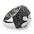 Schwarzer CZ-Diamant-Blumen-Silber-Ring-925 silberner Schmucksachen