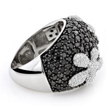 Joyería de plata negra del anillo 925 de la plata de la flor del diamante de la CZ