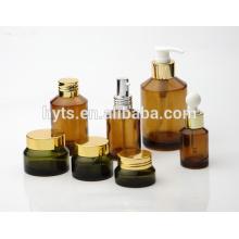 elegante ambarino cosmético ambar botella de vidrio ambarino