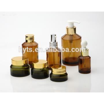 fancy cosmetic amber bottle amber glass jar