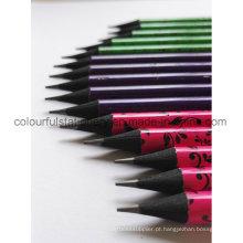 Lápis de madeira em forma redonda de preto