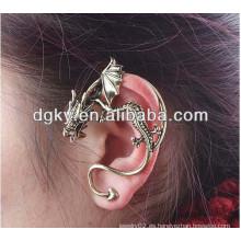 Pendiente de bronce del vintage de la puntada del oído del dragón del estilo perforando la joyería del oído del clip