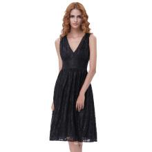 Kate Kasin Sexy Vintage Retro 50s Women's Sleeveless V-Neck V-Back Elastic Waist Black Lace A-Line Dress KK000161-1