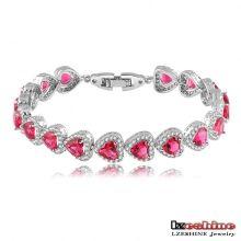 Ruby Zircon Heart Love Bracelets Femmes (CBR0034)