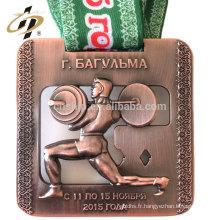Bronze antique 3D coupe des médailles de sport de trophée en métal powerlifting