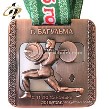 Antique bronze 3D cut out powerlifting metal trophy sports medals