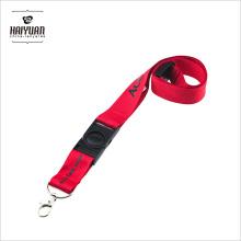100% Polyester Druck Rote Lanyard mit Safety Breakaway Zubehör