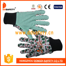 Ddsafety 2018 Flower Cotton Gardening Glove with PVC Dotted on Palm