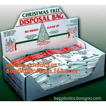 Christmas elegance plastic treat sacks giant Christmas tree poly cover, Christmas snowflake bags poly jumbo gift treat sacks pla