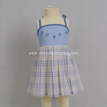 cotton blue summer plaid dress for kids