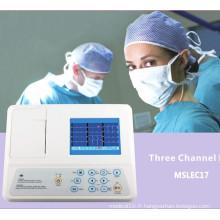 Machine ECG à 3 canaux homologuée CE avec 12 plomb (MSLEC17)