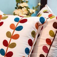 Home Accessories Pillow Case Embroidery Leafs Cushion Pillow