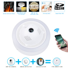 Fire Smoke / Gas Berbahaya Alarm Wireless WiFi IP Camera