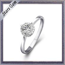 Moda estilo 18k anel de ouro branco