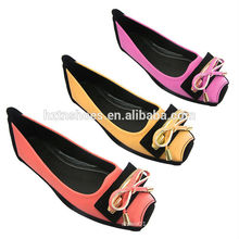China fábrica macio PU moda bailarina sapatos sapatos de mulher plana