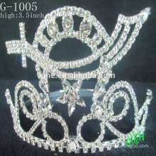 New design fashion beauty crown rhinestone kids crown hair clips