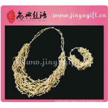 Pakistani Jewelry Chic Wire Crochet Gold String Necklace