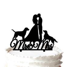 """Dois cães com [deputada & senhor """" Silhouette Topper do bolo de casamento."""