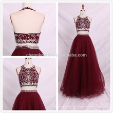 Stunning Real Sample Beaded Two Pieces Ball Gown Tulle Prom Dresses