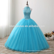 2017 new fashion blue color floor length wedding dress laced halter design diamond decoration new style wedding dress wholesale