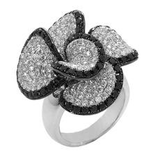 Jóias de anel de prata esterlina 925 de diamante preto e branco