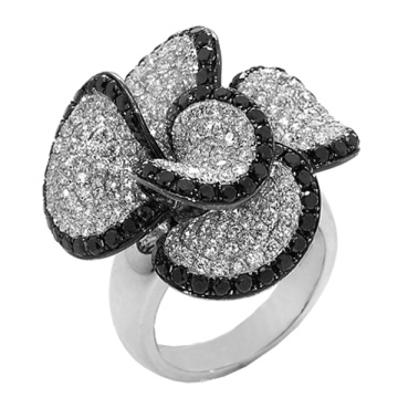 Black and White Diamond 925 Sterling Silver Ring Jewelry