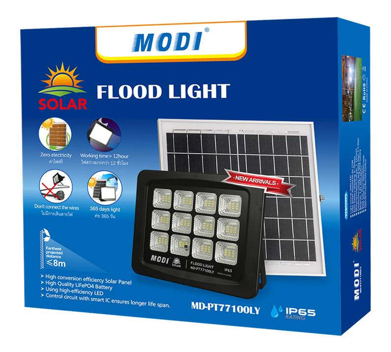Power-saving floodlight with solar panel
