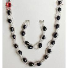Collier en perles d'eau douce noire bijoux