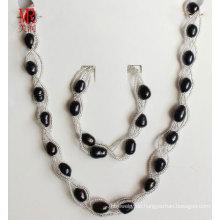 Schwarze Süßwasserperlen Halskette Set Schmuck