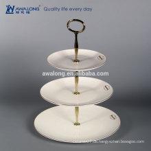 Weißes kundenspezifisches Logo-Knochen China-feine keramische dreischichtige Platte