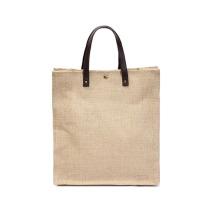 Eco friendly custom printed logo cotton tote bag women jute linen shopping bag