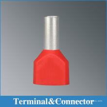 Conectores terminales gemelos aislados del extremo del cable, l terminales tubulares del alambre que prensan, bootlace termianls furruel con colores avarious,