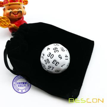 Bescon Polyhedral Dice 50-sided Dice, D50 die, D50 dice, 50 Sides Dice, 50 Sided Cube of White Color