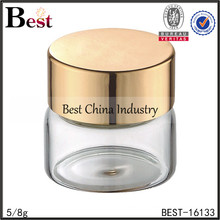 5ml round cosmetic cream jars with aluminum cap, 5/8g glass jars and lids, cosmetic jars supplier