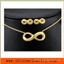 Venta caliente 8 palabra acero inoxidable collar de acero inoxidable joyas conjunto (SSNL2644)