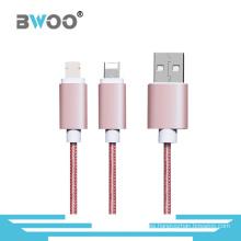 Trenzado 2 en 1 Micro Lightning Cable para teléfono móvil