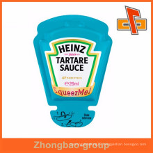 Heat sealable custom shape plastic squeeze bag for tartare sauce package