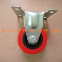 Fixed Red PU caster wheel