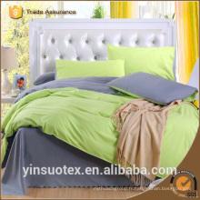 Ensembles de draps de lit en gros 100% polyester en plaine double couleur