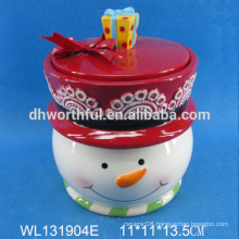 Whlosale Ceramic storage container with Christmas snowman shape