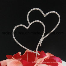 Blingbling Double Heart Picks Sparkly Wedding Cake Topper for Cake Decoration