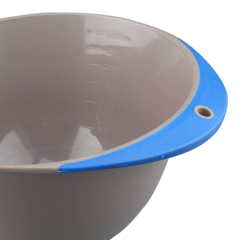 With Blue Handle White Plastic Mixing Bowl