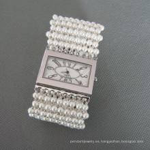 Reloj de perlas, de moda concha de Perla pulsera (WH101)