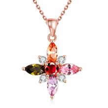 Außenhandel glamourösen Mode Blumenform Zirkon Anhänger Rose Gold Halskette Schmuck